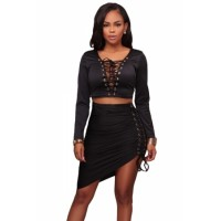 Pink Lace Up Long Sleeve Crop Top Skirt Set Black