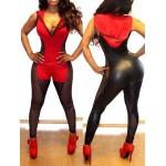 Plunging Neck Hollow Out Hooded Sexy Jumpsuit For Women red