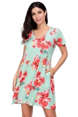 Pocket Design Summer Floral Shirt Dress