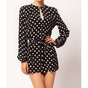 Polka Dot Print Long Sleeve Round Collar Slit Design Jumpsuit For Women