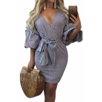 Puff Sleeve Vertical Striped Mini Dress
