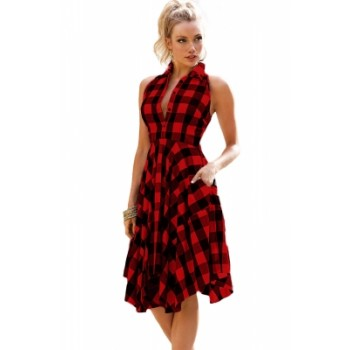 Red Black Denim Checks Flared Shirtdress Blue Black