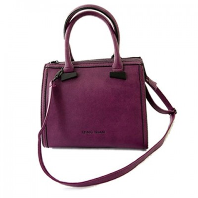 Retro Women's Tote Bag With Solid Color and Zip Design purple brown