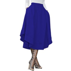 Royal Blue Making Waves High Waist Midi Skirt