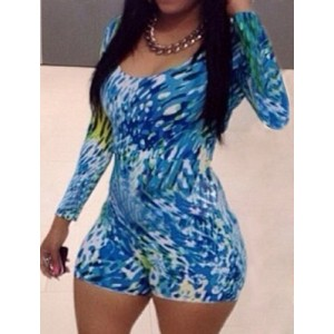 Sexy And Club Scoop Neck Long Sleeve Printed Jumpsuit For Women blue