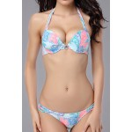 Sexy Halter Neck Lace-Up Printed Bikini Set For Women