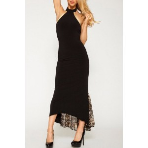 Sexy Halter Neck Sleeveless Asymmetrical Backless Slimming Dress For Women black