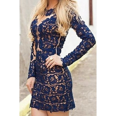 Sexy Lace Round Neck Long Sleeve See-Through Bodycon Dress For Women blue