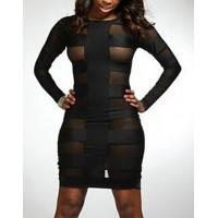 Sexy Round Collar Long Sleeve Spliced Bodycon See-Through Dress For Women black