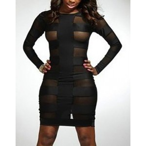 Sexy Round Collar Long Sleeve Spliced Bodycon See-Through Dress For Women black