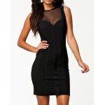 Sexy Round Collar Sleeveless See-Through Bodycon Dress For Women black
