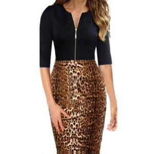 Sexy Round Neck 1/2 Sleeve Spliced Leopard Print Zippered Dress For Women
