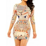 Sexy Round Neck 3/4 Sleeve Printed Bodycon Stretchy Dress For Women