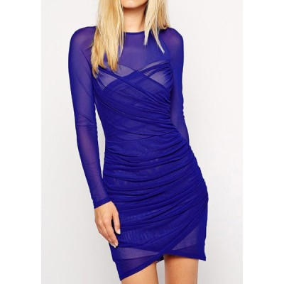 Sexy Round Neck Long Sleeve Bodycon Ruffled See-Through Dress For Women blue