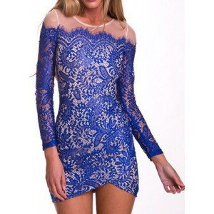 Sexy Round Neck Long Sleeve Spliced Bodycon See-Through Dress For Women blue