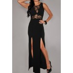 Sexy Round Neck Sleeveless Hollow Out Furcal Bodycon Dress For Women black