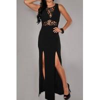 Sexy Round Neck Sleeveless Hollow Out Furcal Bodycon Dress For Women black