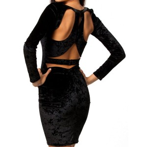 Sexy Scoop Neck Long Sleeve Hollow Out Bodycon Dress For Women black