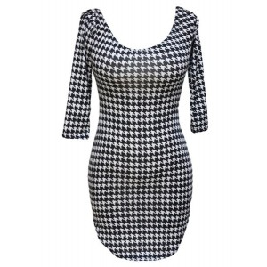 Sexy Scoop Neck Low Cut 3/4 Sleeve Plaid Furcal Dress For Women black