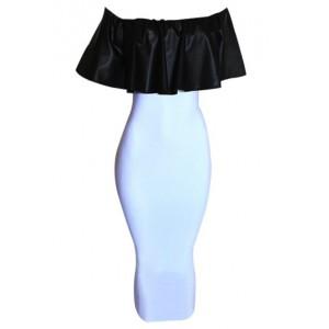 Sexy Slash Collar Short Sleeve Flounced Spliced Bodycon Dress For Women white
