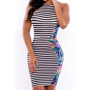 Sexy Sleeveless Round Neck Printed Striped Dress For Women