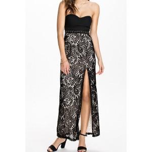 Sexy Strapless Sleeveless Spliced High-Furcal Slimming Dress For Women black
