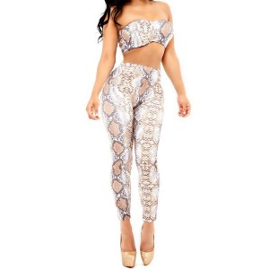 Sexy Strapless Tank Top + Elastic Waist Printed Bodycon Pants Twinset For Women