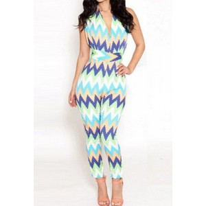 Sexy Women's Halter Multi-Colored Wavy Jumpsuit