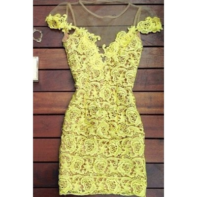 Sexy Women's Jewel Neck Short Sleeve Lace Dress yellow