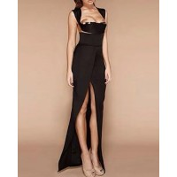 Sexy Women's Low-Cut Backless Black Dress black
