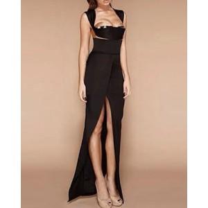 Sexy Women's Low-Cut Backless Black Dress black
