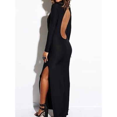 Sexy Women's Plunging Neck Solid Color Long Sleeve Dress black red white