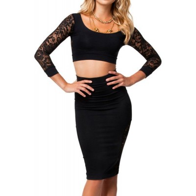 Sexy Women's Scoop Neck 3/4 Sleeve Lace Splicing Suit black