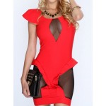 Sexy Women's Scoop Neck Short Sleeve Mesh Splicing Bodycon Dress red blue white black