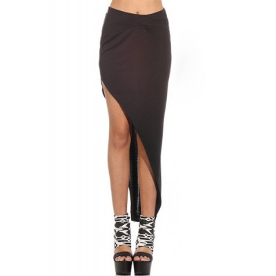 Sexy Women's Solid Color Asymmetric Skirt black