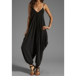 Sexy Women's Spaghetti Strap Loose-Fitting Jumpsuit black
