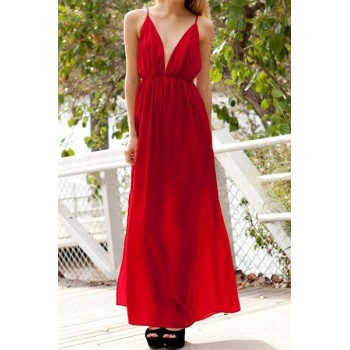 Sexy Women's Spaghetti Strap Solid Color Backless Dress white red