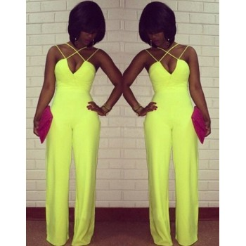 Sexy Women's Spaghetti Strap Wide-Leg Jumpsuit yellow black white