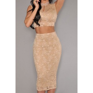 Sexy Women's Stand Collar Backless Suit beige