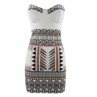 Sexy Women's Strapless Geometric Bodycon Dress white