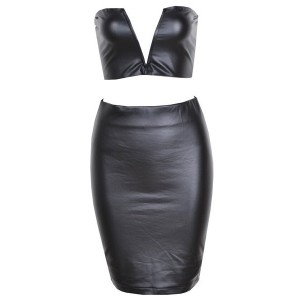 Sexy Women's Strapless Solid Color Suit black