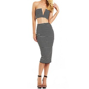 Sexy Women's Strapless Striped Suit black white