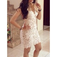 Sexy Women's V-Neck Mesh Splicing Lace Dress white