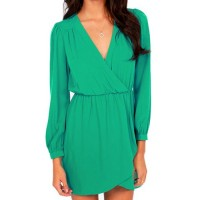 Simple Plunging Neck Long Sleeve Chiffon Solid Color Dress For Women green yellow