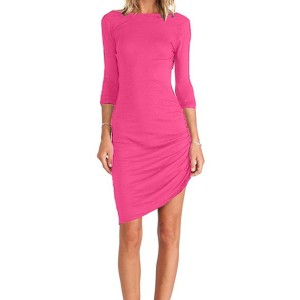 Simple Round Neck Long Sleeve Asymmetrical Solid Color Bodycon Dress For Women plum black green