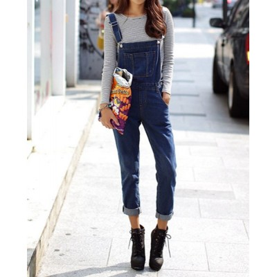 Solid Color Straight Leg Casual Style Women's Denim Overalls blue