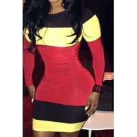 Stylish Jewel Neck Long Sleeve Color Block Dress For Women
