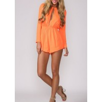 Stylish Round Neck Long Sleeve Hollow Out Solid Color Jumpsuit For Women orange blue