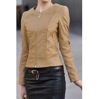 Stylish Round Neck Long Sleeve Zipperd Slimming PU Jacket For Women black blue red khaki