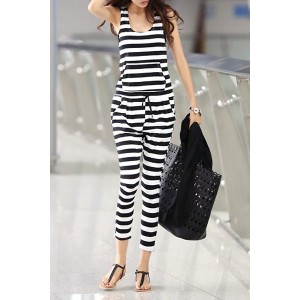 Stylish U-Neck Sleeveless Striped Pocket Design Jumpsuit For Women white black